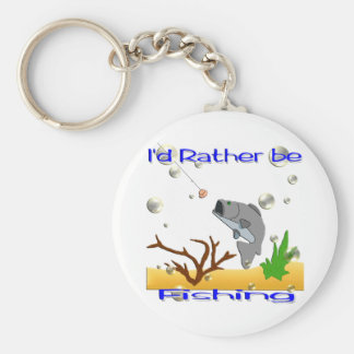 I'd Rather Be Fishing Basic Round Button Key Ring