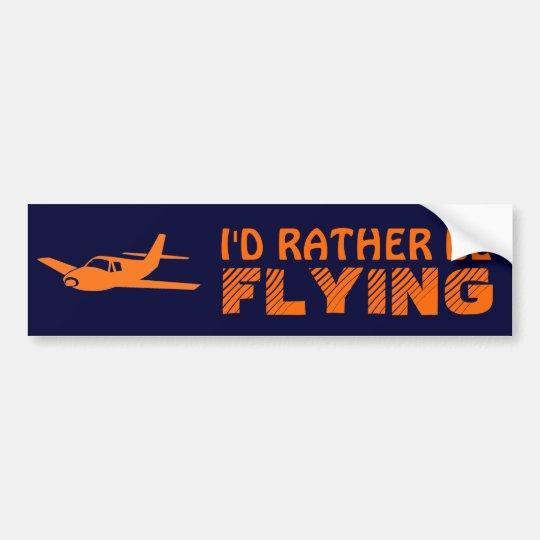 I'd Rather Be Flying orange navy bumpersticker Bumper