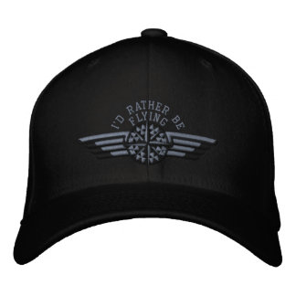 I'd rather be flying Star Compass Pilot Wings Embroidered Hats