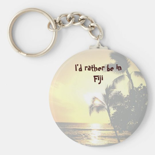 I'd Rather Be in a Tropical Island Basic Round Button Key Ring