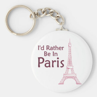 I'd Rather Be In Paris Basic Round Button Key Ring
