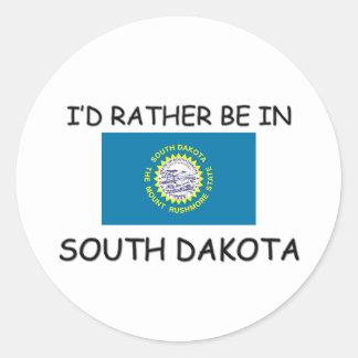 I'd rather be in South Dakota Classic Round Sticker