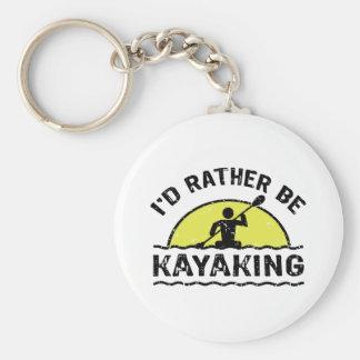 I'd rather be Kayaking Basic Round Button Key Ring