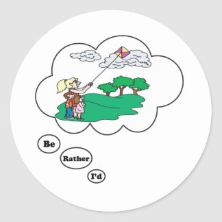 I'd rather be Kite Flying 3 Classic Round Sticker