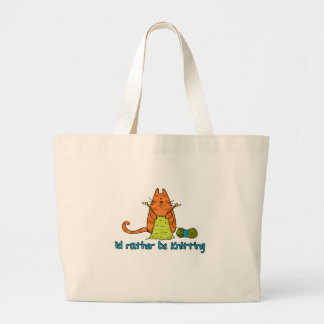 i'd rather be knitting large tote bag