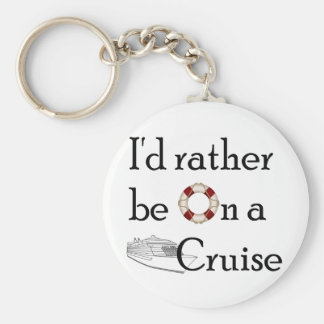 I'd Rather Be On A Cruise Basic Round Button Key Ring