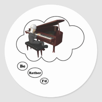 i'd rather be playing Piano 3 Round Sticker