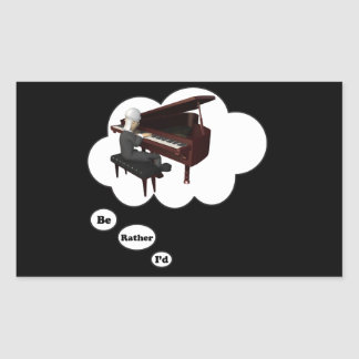 i'd rather be playing Piano 3 Rectangular Stickers