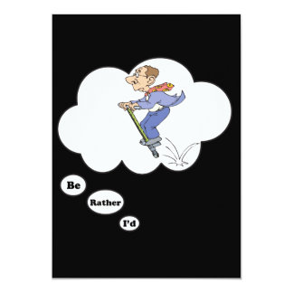 I'd rather be playing Pogo Stick 2 13 Cm X 18 Cm Invitation Card