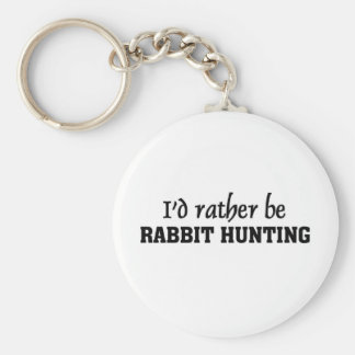 I'd rather be rabbit hunting basic round button key ring