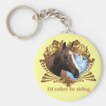 I'd Rather Be Riding Horses Basic Round Button Key Ring