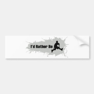 I'd Rather Be Rollerblading Bumper Sticker