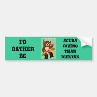 I'd Rather Be Scuba Diving Than Driving Bumper Sticker