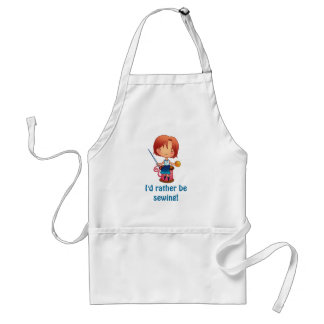 Id rather be sewing girl sitting on reel standard apron