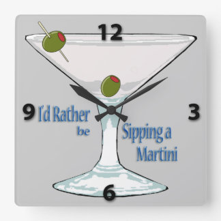 I'd Rather Be Sipping a Martini SquareWall Clock