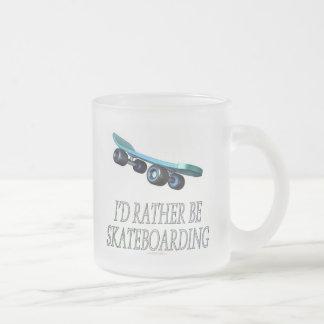 I'd rather be skateboarding (mug) frosted glass coffee mug