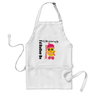 I'd Rather Be Skiing Chick Adult Apron