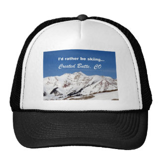 I'd rather be skiing, Crested Butte, CO Mesh Hats