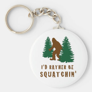 I'd Rather Be Squatchin' Basic Round Button Key Ring