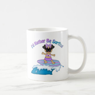 I'd Rather Be Surfing Pug Girl Tees and Gifts Coffee Mug