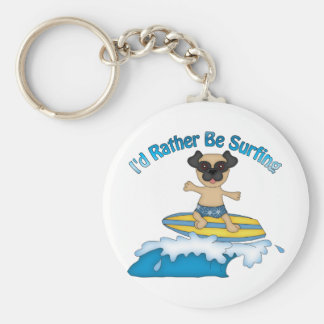 I'd Rather Be Surfing Pug Surfer Gifts and tees Basic Round Button Key Ring