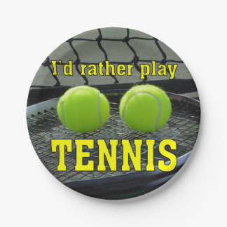 I'd Rather Play Tennis 7 Inch Paper Plate