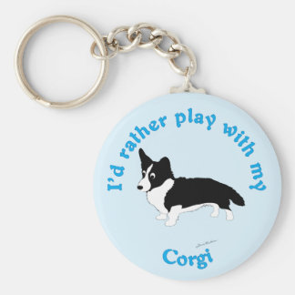 I'd Rather Play With My Corgi Key Ring