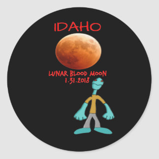 Idaho Blood Moon Lunar Eclipse 1.31.2018 Classic Round Sticker