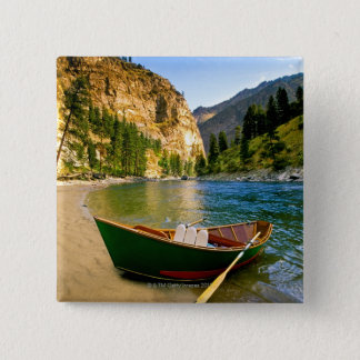IDAHO, Fishing boat on a sandy beach in the 15 Cm Square Badge