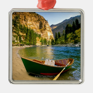 IDAHO, Fishing boat on a sandy beach in the Christmas Ornament
