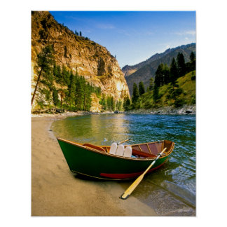 IDAHO, Fishing boat on a sandy beach in the Poster