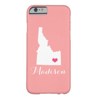 Idaho Heart Coral Custom Monogram Barely There iPhone 6 Case