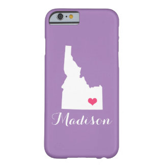 Idaho Heart Lilac Custom Monogram Barely There iPhone 6 Case