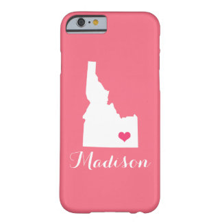 Idaho Heart Pink Custom Monogram Barely There iPhone 6 Case