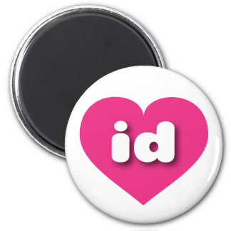 idaho hot pink heart - mini love 6 cm round magnet