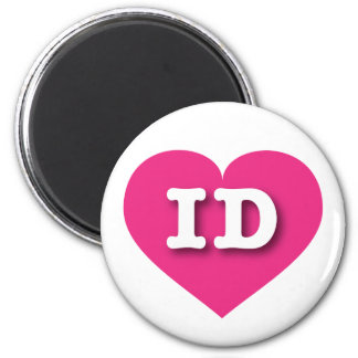 Idaho ID hot pink heart 6 Cm Round Magnet