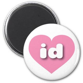 Idaho id pink heart 6 cm round magnet