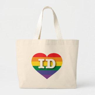 Idaho ID rainbow pride heart Bags