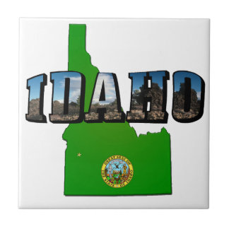 Idaho Map, Seal and Picture Text Tile