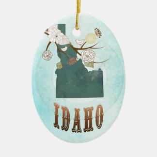 Idaho Map With Lovely Birds Ceramic Oval Decoration