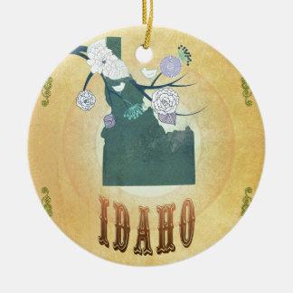 Idaho Map With Lovely Birds Round Ceramic Decoration