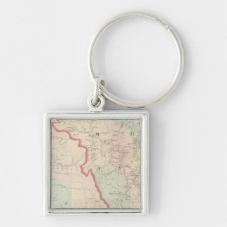 Idaho, Montana Western Portion Silver-Colored Square Key Ring