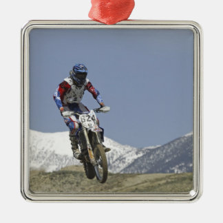 Idaho, Motocross Racing, Motorcycle Racing 2 Silver-Colored Square Decoration