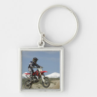 Idaho, Motocross Racing, Motorcycle Racing Silver-Colored Square Key Ring