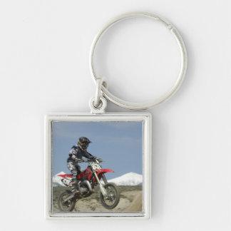 Idaho, Motocross Racing, Motorcycle Racing Silver-Colored Square Key Ring