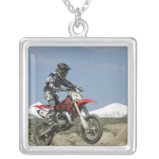 Idaho, Motocross Racing, Motorcycle Racing Silver Plated Necklace