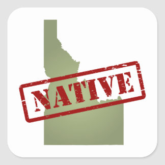 Idaho Native with Idaho Map Square Sticker