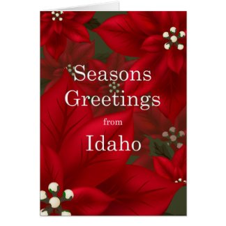 Idaho Poinsettia Seasons Greetings Christmas Card