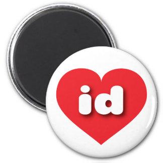 idaho red heart - mini love 6 cm round magnet
