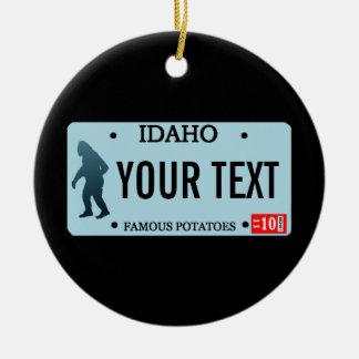 Idaho Sasquatch License Plate Round Ceramic Decoration